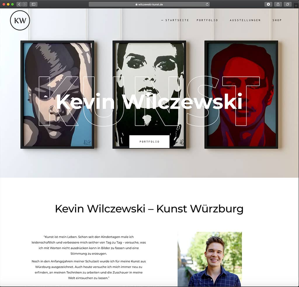 Webseite von Künstler. Webdesign.